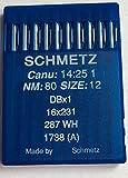 Original Schmetz Nadeln für Nähmachinen System 1738(A) DBx1 Stärke 80 Rundkolben