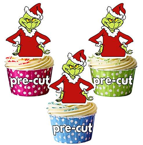 AK Giftshop vorgeschnittene,essbare Cupcake-Tortenaufsätze, Motiv: Weihnachts-Grinch, 12Stück.