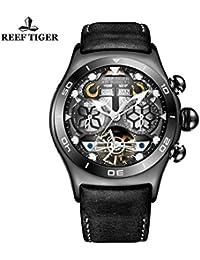 Reef Tigre Sport pour Homme en Acier Noir Cadran Squelette Tourbillon Montre rga703