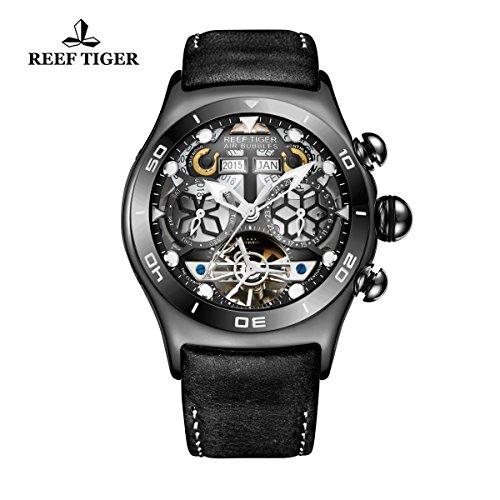 Reef Tiger Sport Herren Schwarz Stahl Skelett Zifferblatt Tourbillon Armbanduhr rga703