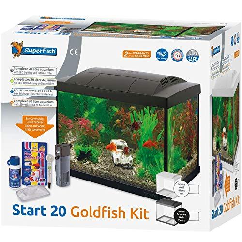 Superfish acquario pesci rossi bianco 20 litri completo con luce led filtro e accessori