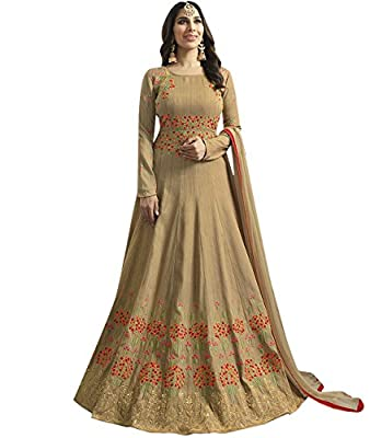 Indian Ethnic Art Silk Beige Abaya Suit Semi-stitched