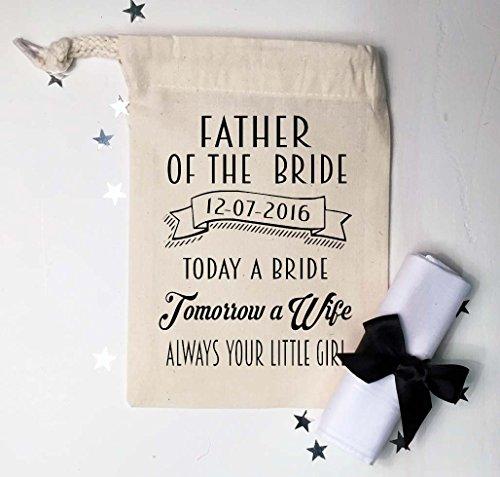"""(Kleiner Geschenkbeutel mit Taschentuch, Baumwolle, mit englischer Aufschrift """"Today A Bride, Tomorrow A Wife & Always Your Little Girl"""" Hochzeitsgeschenk für den Brautvater)"""