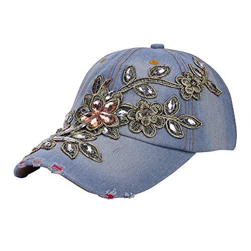 LONTG Baseballmütze Damen Mädchen Denim Blumen Diamant Baseball Cap verstellbar Sonnenschutz Schirmmütze Jeans Hüte für Freizeit, Reisen, Outdoor Sports