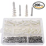 Hilitchi 200 pezzi 2 dimensioni plastica Autoperforanti per cartongesso e hollow-wall Anchors con viti autofilettanti assortimento kit
