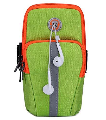 YK Outdoor Sports Phone Bag Mini Running Nachtlicht Arm Tasche Handy Geldbeutel Arm mit Schutz Paket für iphone6s Plus Samsung, grün (Jacquard-armband)