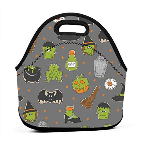 Clothes socks Portable Bento Lunch Bag,Halloween Cookies Cute Halloween Food, Potion, Frog, Witch, Frankenstein, Halloween Food - Grey for Kids Adult Thermal Insulated Tote Bags (Snacks Für Kid Halloween Fun)