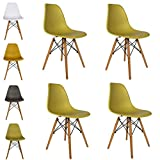 Cosy7 Luna Collection Eiffel Style DSW Modern Dining Chairs Olive Set of 4 | Solid Beech Wooden Legs, Comfy Seat, Well Blended Colours & Timeless Retro Design | For Living Room, Desk, Patio, Terrace, Office, Kitchen, Lounging, Cafeterias & More