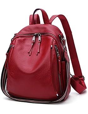 Frauen Echtes Leder Rucksäcke Damen Daypack Mehrzweck Reise Schultaschen Doppel Umhängetasche