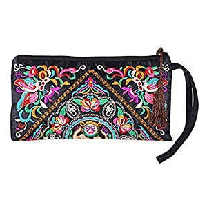 Sanwood Women's Retro Ethnic Embroider Purse Wallet Phone Bag
