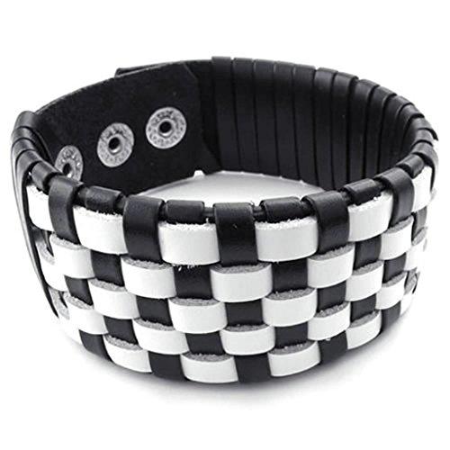 daesar-joyera-pulsera-de-cuero-hombre-mujer-clsico-pulsera-trenzada-cuero-brazalete-cuadrcula-negro-
