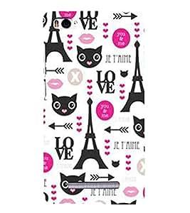 CAT, Black, Lovely Pattern, Love, Arrow, Printed Designer Back Case Cover for Xiaomi Mi 4i :: Xiaomi Redmi Mi 4i