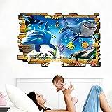 3D Delfine Ocean Sharks Qualle Wand Aufkleber Home Aufkleber PVC Wandmalereien, Vinyl, Papier, House Dekoration Tapete Wohnzimmer Schlafzimmer Küche Kunst Bild DIY für Kinder Teen Senior Erwachsene Kinderzimmer Baby
