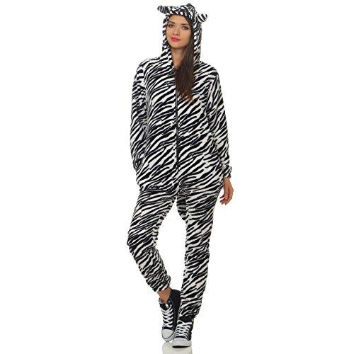 90D23 LBB Damen Jumpsuit Einteiler Overall Tier Anzug Zebra Gr M