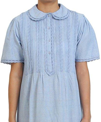 Baumwolle Lane Blau Chambray Baumwolle viktorianischen Edwardian Vintage reproductionlarge/Plus Größe Nachthemd. Größen UK 8–34., Blau - Blue Chambray, (Viktorianischen Kleider Größe Plus)