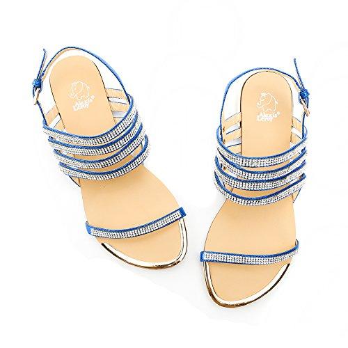 Alexis Leroy Diamant décoration Peep Toe Sandales Plates Femme Bleu