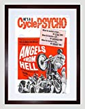 MOVIE FILM ANGELS FROM HELL RED MOTORCYCLE CYCLE PSYCHO FRAMED PRINT B12X7118