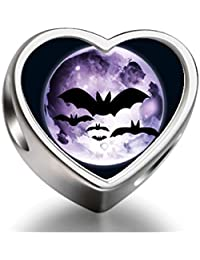 925 Sterling Silver Charms Beads Halloween bats fly over moon Heart Photo Charm Beads Fit Pandora Chamilia Biagi beads Charms Bracelet