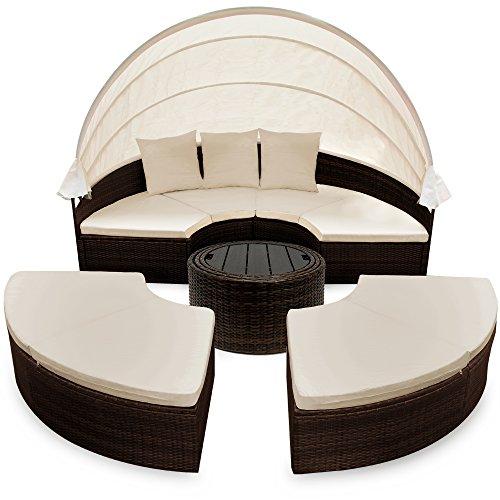 deuba-poly-rattan-sonneninsel-o185cm-braun-schwarz-faltbares-sonnenschutzdach-wpc-teleskoptisch-7cm-sitzauflagen-3-kissen-gartenliege-liegeinsel-sonnenliege-lounge-liege-gartenmoebel-set-6