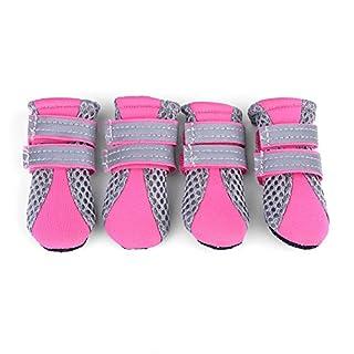 Fdit Chaussures Chien Pet Chaussures Maille Antidérapant Respirant Semelle De Protection protège-Pattes Doux Bottes pour Chiot Chien(Rose S)