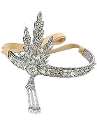 Contever® Elegante Bling El Gran Gatsby Inspirado Art Deco Boda Hoja Simulado Perla diadema Tiara del Pelo Longitud: 16 cm