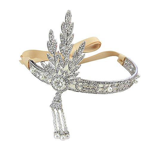 Contever® Elegante Accessorio per capelli Austriaco di cristallo nuziale del diadema ispirato al Grande Gatsby, con perle e medaglione con