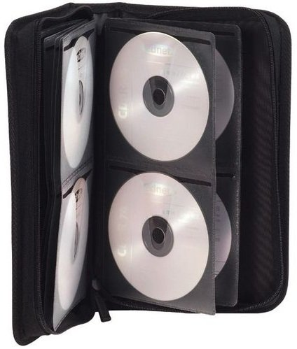Ednet CD Etui  aus Nylon mit Reißverschluß für maximal 96 CD/DVD in transparenten CD Schutzhüllen Farbe: schwarz