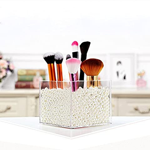 Ailier Brush Holder Box Makeup Clear Organizer Brush Sets Storage Acrylic Box - Pearls Free