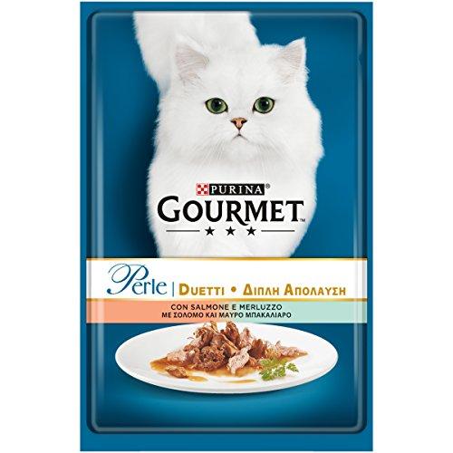 Gourmet Perle Purina Umido Gatto Duetti di Mare con Salmone e Merluzzo, 24 Buste da 85 g Ciascuna, Confezione da 24 x 85 g