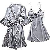 MIRRAY Damen Kimono Nachtwäsche Nachthemd Blumen Bedruckt Satin Negligee Spitze Chemise Pyjama Robe Zwei Stücke V-Ausschnitt Sleepwear Set Trägerkleid