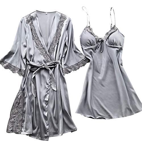 MIRRAY Damen Kimono Nachtwäsche Nachthemd Blumen Bedruckt Satin Negligee Spitze Chemise Pyjama Robe Zwei Stücke V-Ausschnitt Sleepwear Set Trägerkleid - 2 Stück Mesh Robe