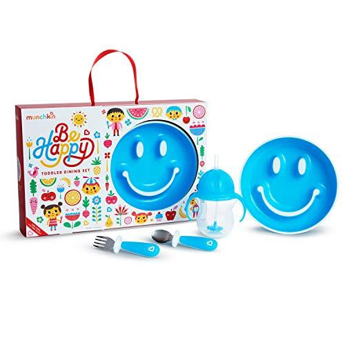 Munchkin Be Happy Geschirrset für Kleinkinder in Geschenkbox, Blau