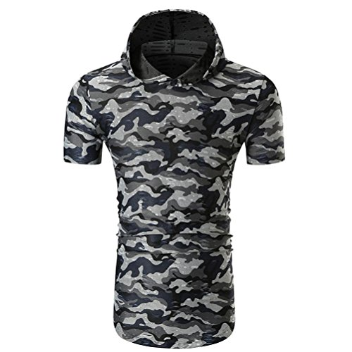 Herren T-Shirt Kurzarm Shirt mit Rundhals-Ausschnitt Kapuzen Männer Camouflage Print-Shirts Coole T Shirts Casual Basic Shirts Sport Pullover Sweatshirt Sommer Kapuzenshirts (Gray, M) -