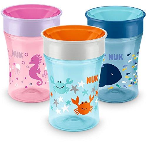 NUK Magic Cup Trinklernbecher, 360° Trinkrand, auslaufsicher abdichtende Silikonscheibe, 230ml, BPA-frei, Design nicht frei wählbar, 1 von 3 möglichen Motiven