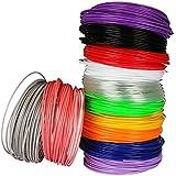 Lapond 3D Pen Filamento Plumas para impresión 3D Colores de 12 Unidades Cada una en 1.75mm 6M-Rosa, Púrpura, Violeta, Amarillo, Gris, Azul, Blanco,Rojo, Transparente, Verde, Negro, Naranja