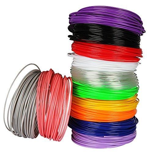 Lapond 3D Pen Filamento Plumas para impresión 3D Colores de 12 Unidades Cada una en 1.75mm 6M-Rosa, Púrpura, Violeta, Amarillo, Gris, Azul, Blanco,Rojo, Transparente, Verde, Negro, Naranja (6M 12 Colores)