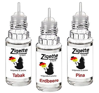 NEU 3 x 10 ml Zigette ezigarette eshisha Liquid - Tabak - Erdbeere - Pina Colada - mit 0,00 Nikotin Schnäppchen sonder Preis von ReiTrade