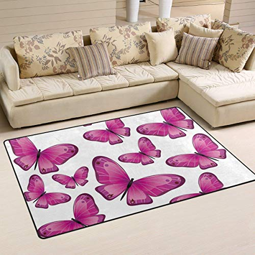 Wdskbg Retro Pink Butterfly Area Rug Rugs Non-Slip Indoor Outdoor Floor Mat Doormats for Home Decor Size:16 X 24(40x60cm) Blue Butterfly Mop