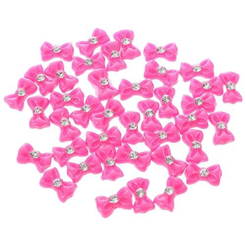 TOOGOO(R) Art d'ongle 3d 40 Piece Petit rose chaud Noeud papillon /Strass pour ongles, les telephones portables .8cm