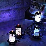 iBaste 4er Set Halloween Dekoration Licht Kerzenlicht Tischdeko mit Batterie 7cmx8.5cm Partydeko Laterne Beleuchtung - 7