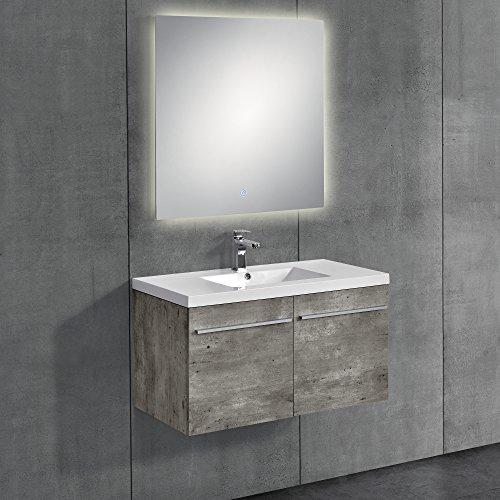 [neu.haus] Conjunto de muebles de baño look-cemento - mueble con lavabo incluido + espejo 80x80cm
