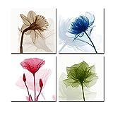 WONZOM abstracto flores impresiones sobre lienzo en la pared 4pcs/set Enmarcado listo para colgar cuadros lienzo impresión cuadro de fotos para salón o dormitorio decoración para el hogar 12x 300mm, diseño floral