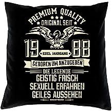 Kissen Bester Jahrgang 1988 Geburtstagsgeschenk Geschenk 30 Geburtstag schwarz