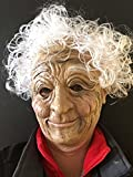 Old Woman Granny Hag Mask White Hair Fancy Dress Masquerade