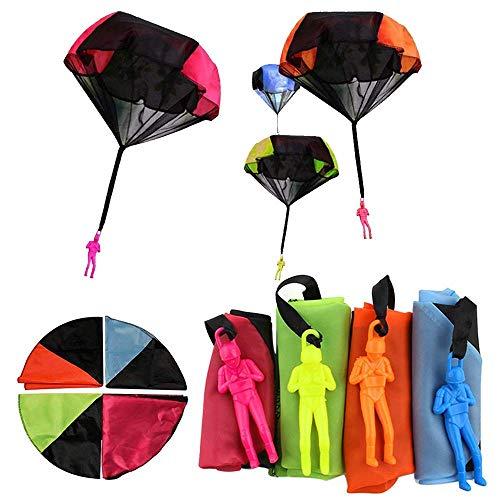 nger Spielzeug, 4 Stück Kinder Hand Werfen Fallschirm Fallschirmspringer Wurf Parachute Kinderdrachen Spielzeug Geschenk für Draußen ()