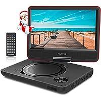 """WONNIE 9.5"""" Tragbarer DVD-Player drehbares HD Display 4 Stunden Akku, Unterstützt USB/SD Slot, AV Out/IN, mit 1.5M Auto-Ladegerät und Stromadapter (Rote)"""