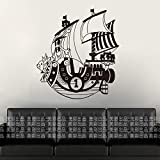 yaoxingfu Barco de Vela Merry Car Pegatinas de Pared calcomanías de Dibujos Animados japoneses calcomanía de Vinilo Etiqueta Home Decora Tarjeta de Color 58x58 cm
