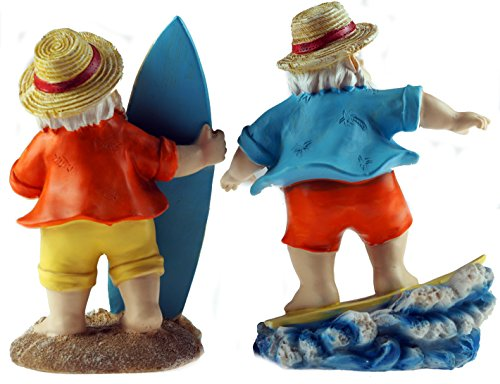 Set-Of-2-Surfing-Dude-Gnomes-20cm-Novelty-Garden-Figurines-Ornaments