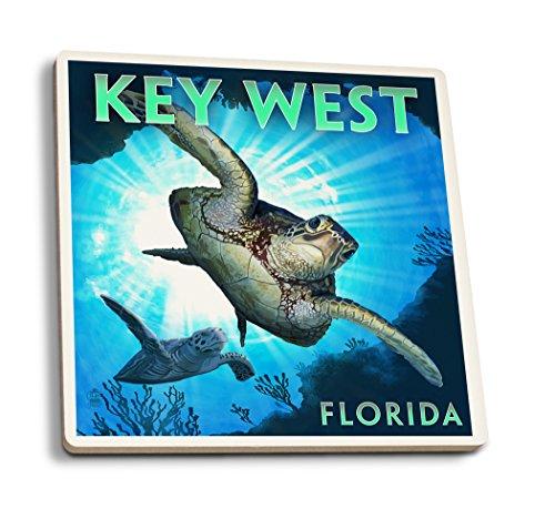 Key West, Florida-Meer Schildkröte Tauchen, keramik, mehrfarbig, 4 Coaster Set (West Key Tauchen)
