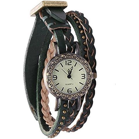 RE:CRON mujeres pulsera de reloj enrollada con pulsera de piel trenzada y remaches reloj análogo Ø 2,5 cm verde oscuro